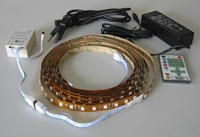 Kit package includes: RGB flex strip, 12v power supply, IR controller
