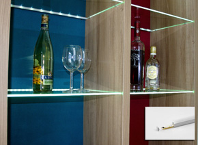glass shelf edge-lit