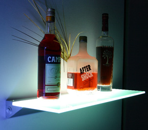 glass shelf lighting