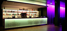 Led illuminates a nightclub counter